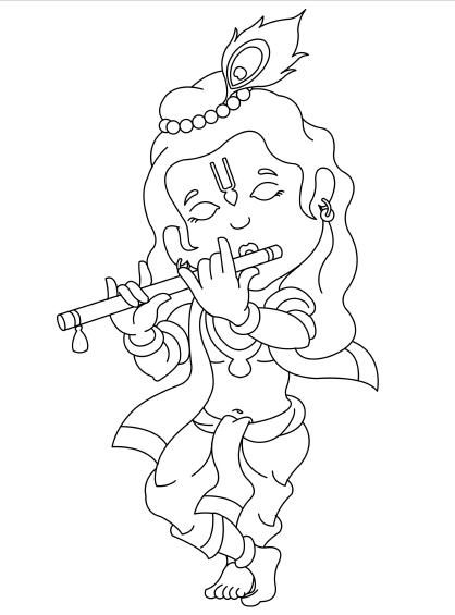 Line Drawing Krishna : Kids iskcon desire tree cute krishna